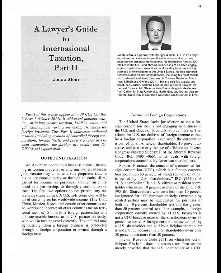 Lawyer's Guide to International Taxation Part II