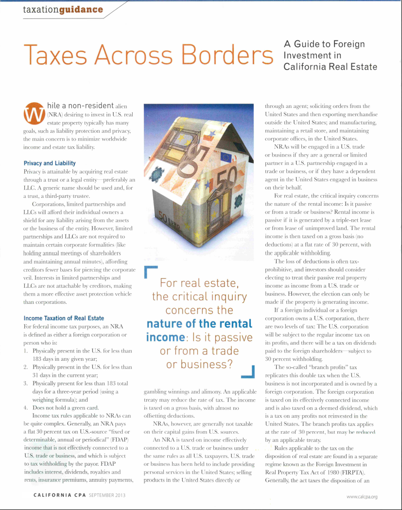 Taxes Across Borders - A Guide to Foreign Investment in California Real Estate